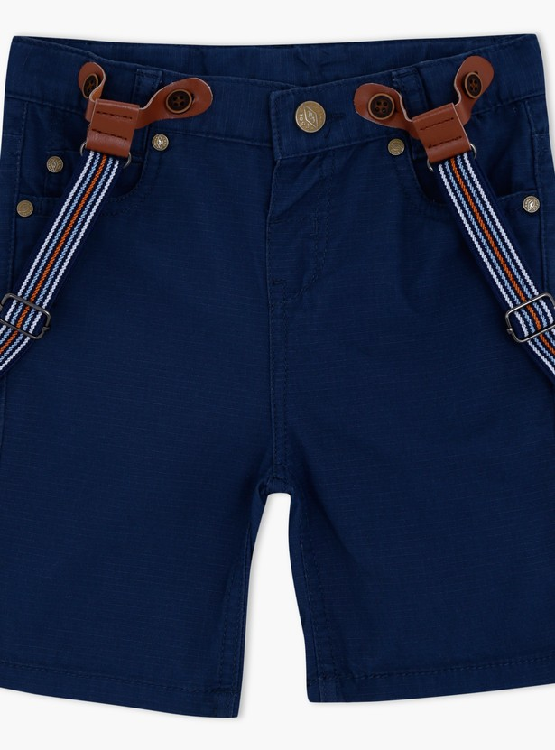 Shorts with Button Closure and Suspenders