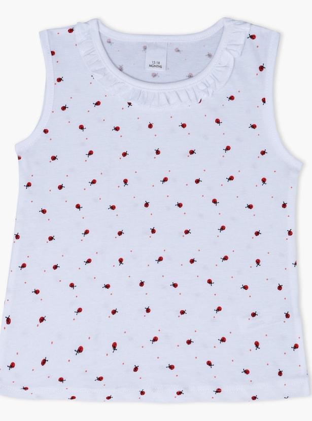 Printed Sleeveless Round Neck T-Shirt