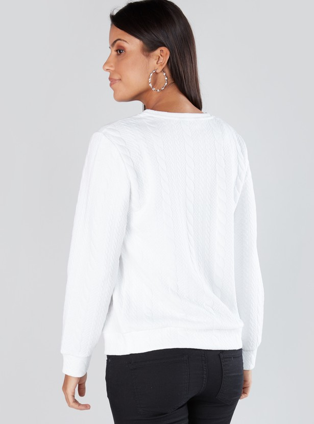 Textured Long Sleeves Sweatshirt with Applique Detail