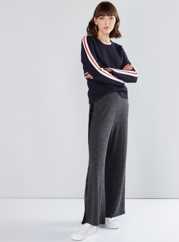 Textured Palazzo Pants with Elasticised Waistband and Tape Detail