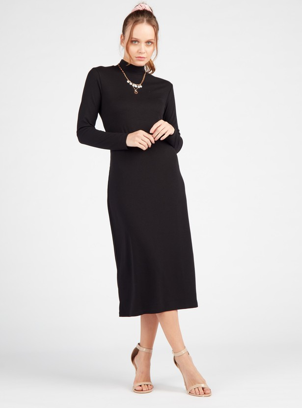 Ribbed Midi Shift Dress with Long Sleeves and High Neck