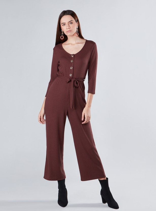 Textured Maxi Jumpsuit with Long Sleeves and Tie Ups