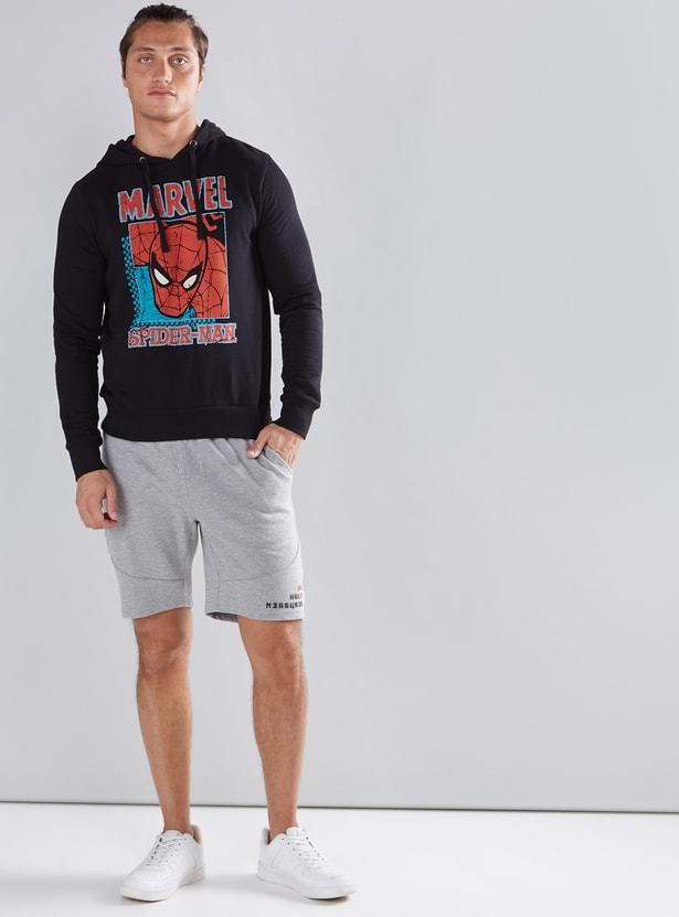 Spider-Man Printed Sweatshirt with Long Sleeves and Hood