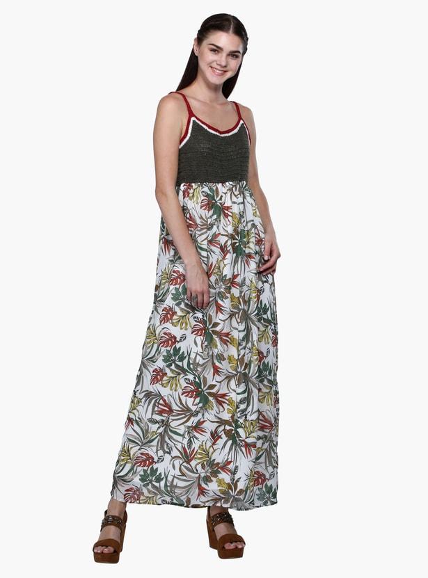 Printed Crochet Maxi Dress