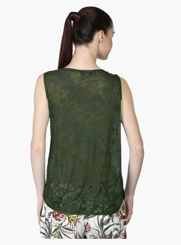 Textured Sleeveless Top with Round Neck