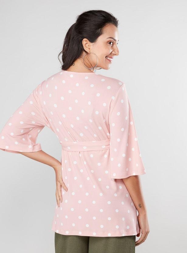 Polka Dot Printed V-neck Wrap Top with 3/4 Sleeves