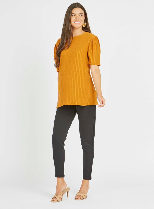 Maternity Solid Mid-Rise Trousers with Pocket Detail and Tie Ups