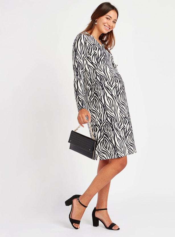فستان ملفوف ميدي إيه لاين بأكمام طويلة وأربطة وطبعات