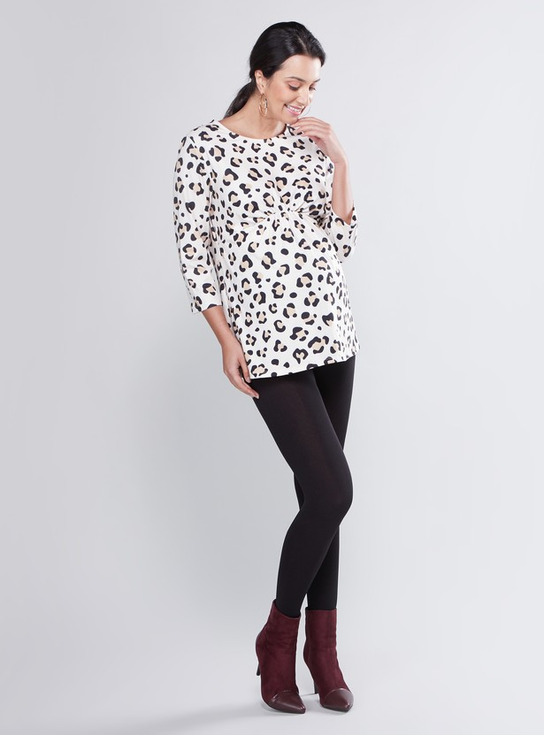 Printed Top with 3/4 Sleeves and Knot Detail