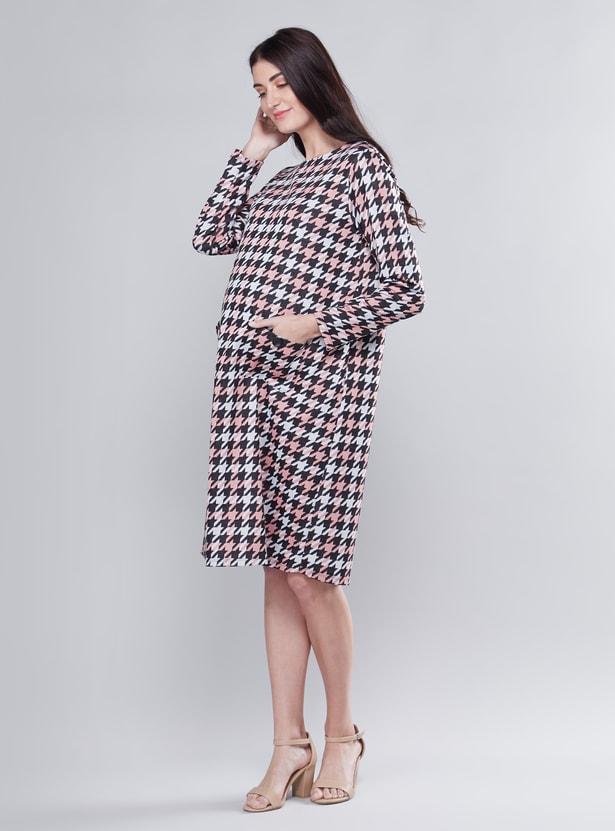 Maternity Printed Midi Shift Dress with Long Sleeves and Pocket Detail