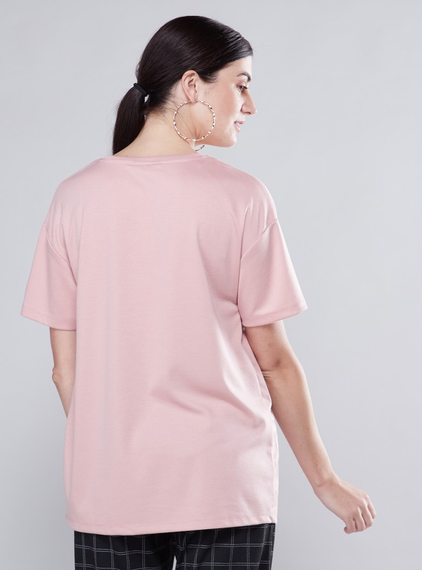 Maternity Printed T-shirt with Round Neck and Short Sleeves