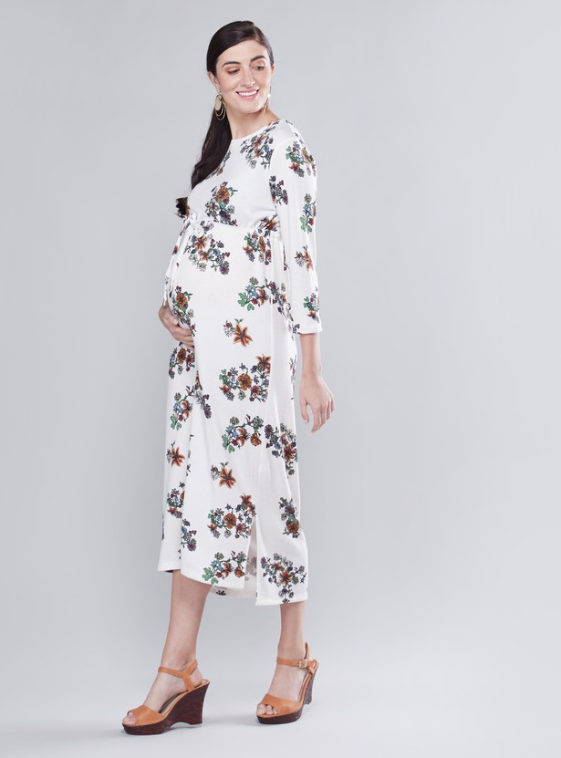 Floral Print Round Neck A-line Midi Dress with 3/4 Sleeves