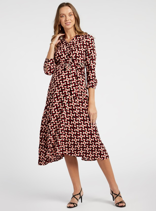 Printed Midi A-line Maternity Dress with 3/4 Sleeves