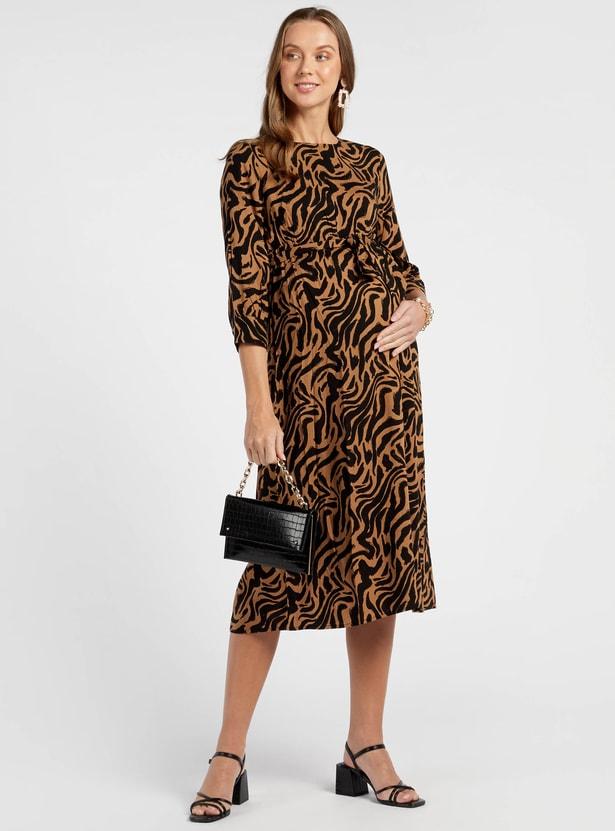 Animal Print Maternity Midi A-line Dress with 3/4 Sleeves