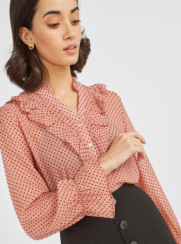 Polka Dots Print Top with Long Sleeves and Ruffle Detail