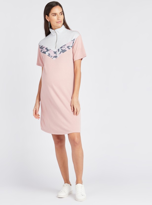 Maternity Smocked Knee Length A-line Dress with Short Sleeves