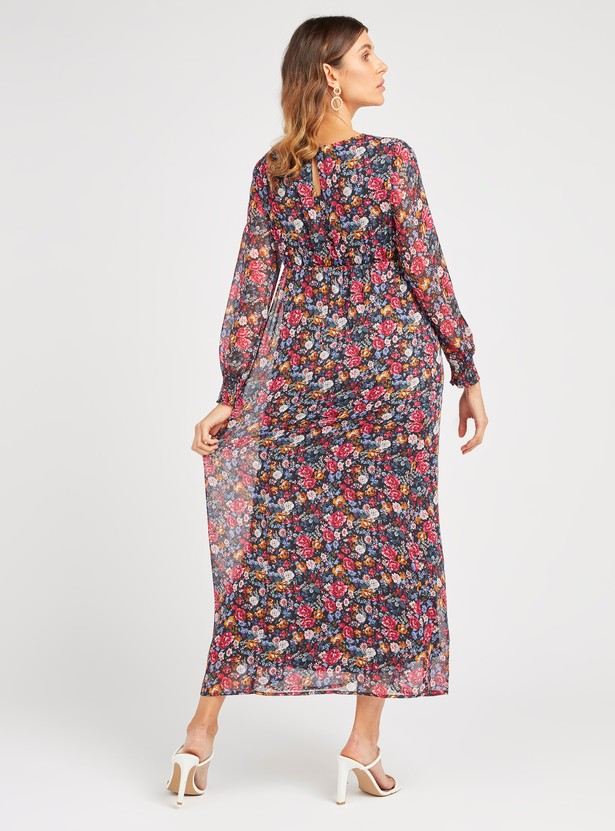 Floral Print Maternity Maxi A-line Dress with Bishop Sleeves