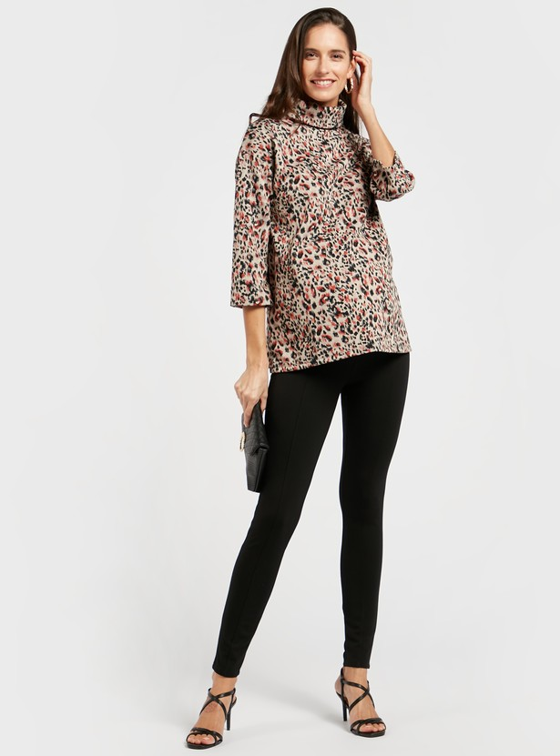 Maternity Animal Print Jacquard Boxy Top with 3/4 Sleeves