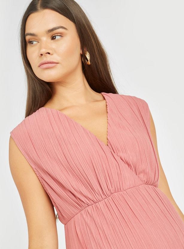 Maternity Textured Midi A-line Sleeveless Dress with V-neck