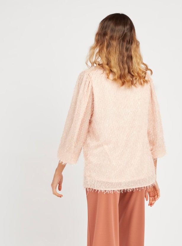 Textured Maternity Top with Round Neck and Bishop Sleeves