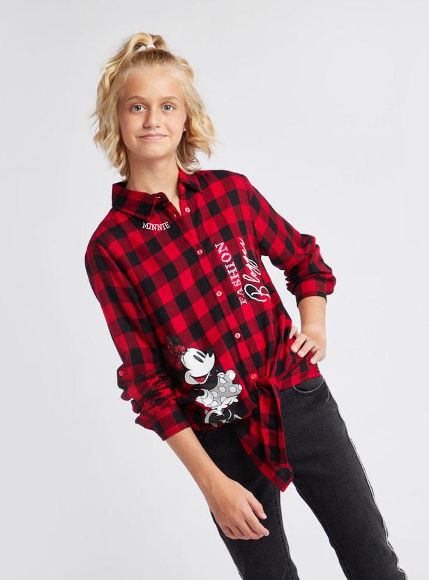 قميص مربعات بياقة عادية وأكمام طويلة ميني ماوس