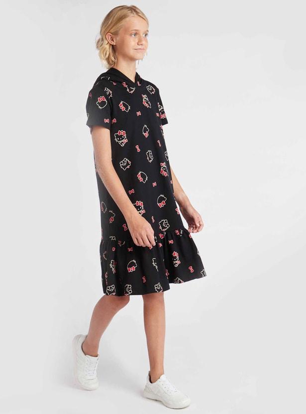 فستان بطول الركبة بأكمام قصيرة وقبعة و طبعات هالو كيتي
