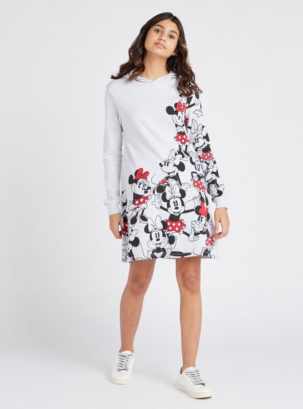 فستان ميني بأكمام طويلة وقبعة وطبعات ميني ماوس