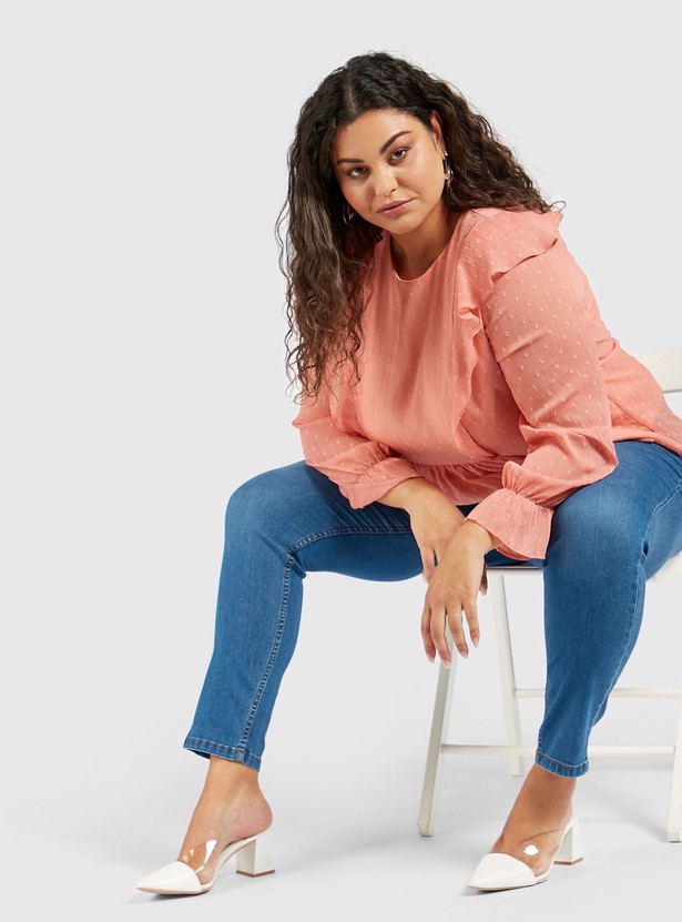 Ankle Length High-Rise Skinny Jeggings with Elasticised Waistband