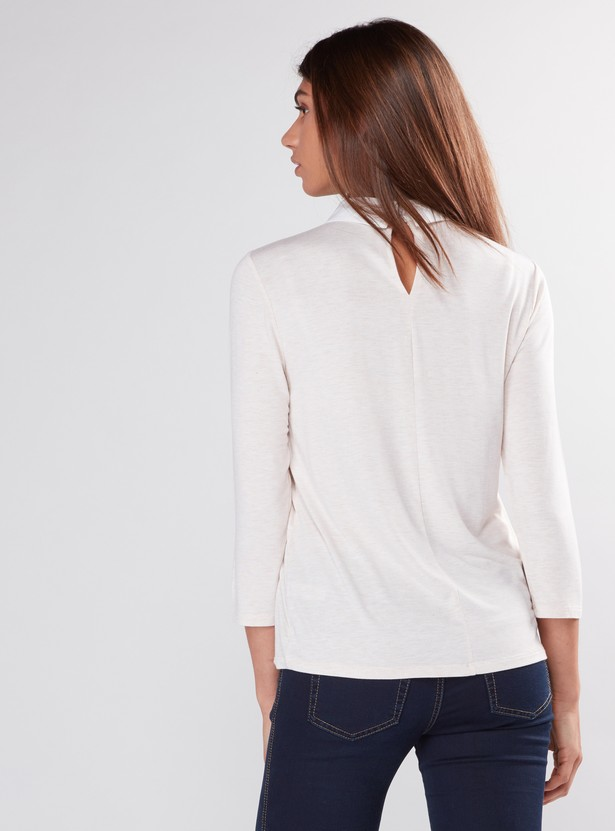 Embellished Top with 3/4 Sleeves