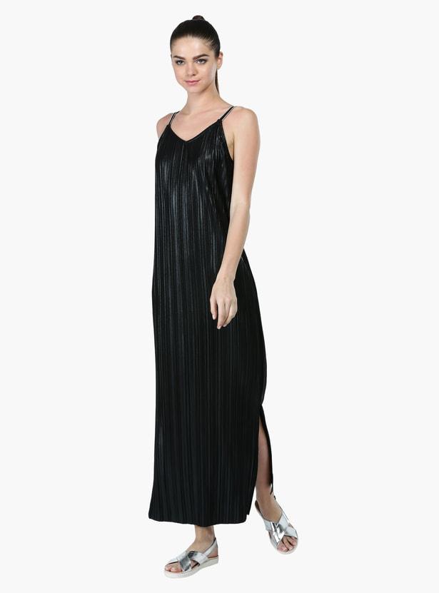 V-Neck Maxi Dress with Side Slit