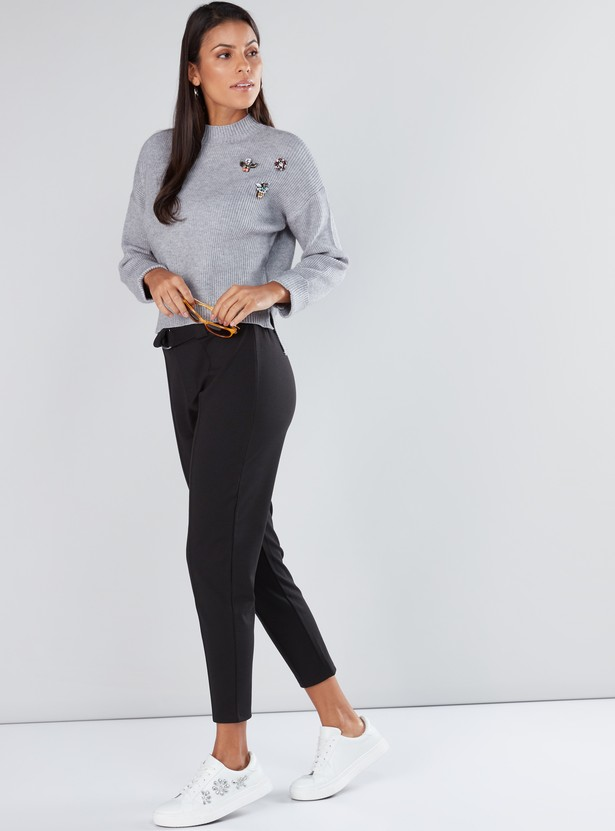 Embellished Sweater with High Neck and Long Sleeves