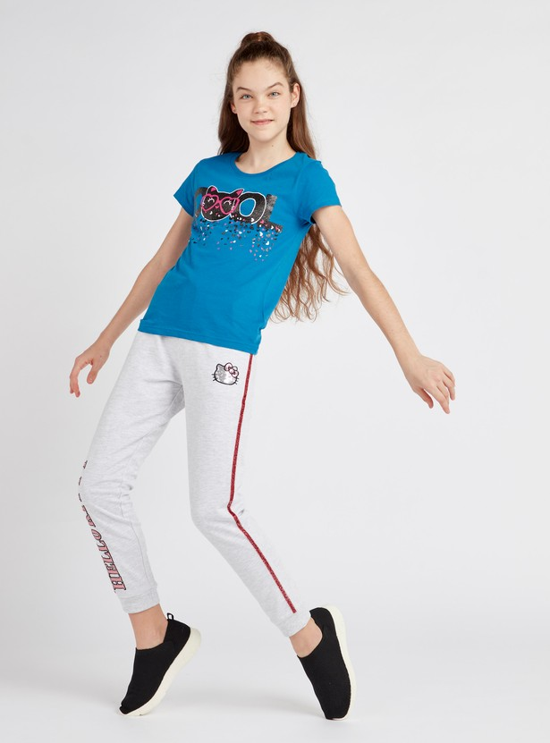 Hello Kitty Printed Joggers with Glitter Detail