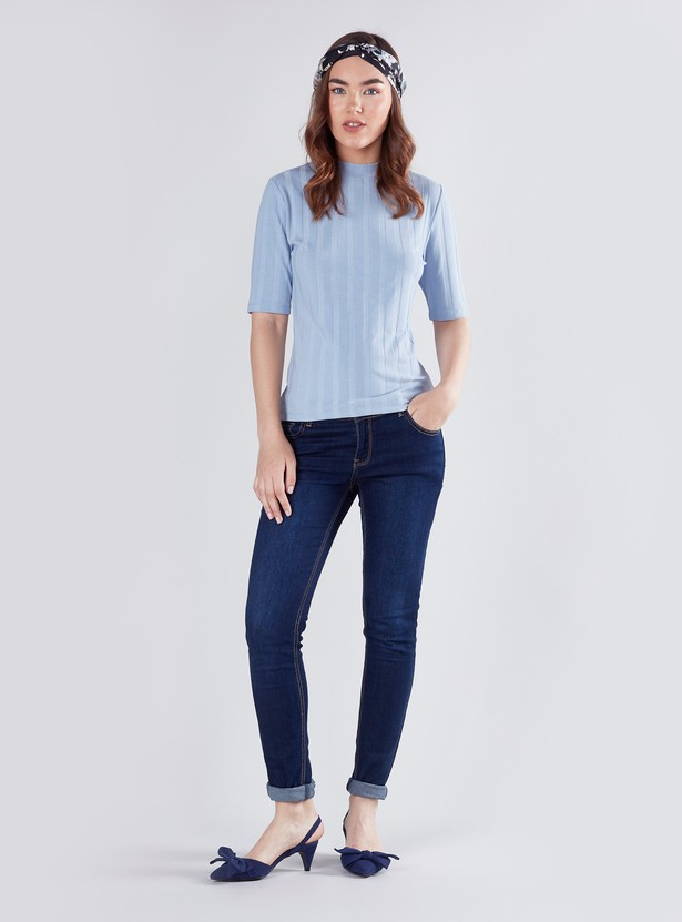 Ribbed Crew Neck T-shirt with Short Sleeves