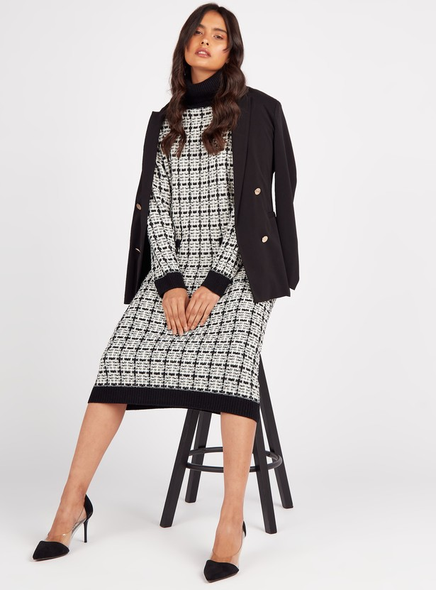 Checked High Neck Midi Shift Dress with Long Sleeves