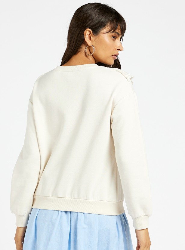 Solid Round Neck Sweat Top with Schiffli Embroidered Frill Accents