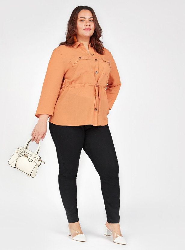 Textured Top with Spread Collar and Long Sleeves
