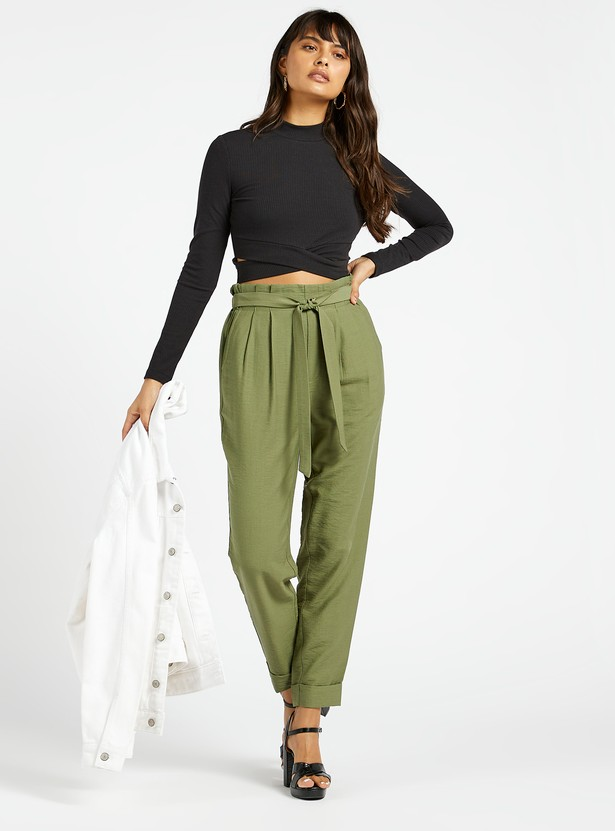 Solid Trousers with Paper Bag Waist and Tie-Ups