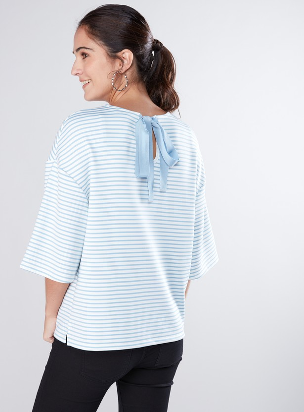 Embellished Striped Top with Flared Sleeves and Tie Ups