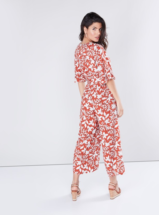 Printed Jumpsuit with 3/4 Sleeves and Belt