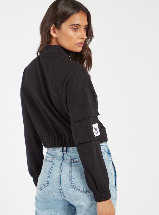 Solid Crop Sweat Top with High Neck and Long Sleeves