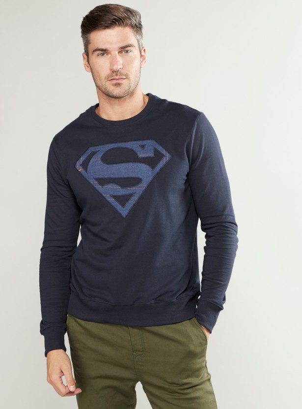 Super Man Print Sweatshirt with Long Sleeves