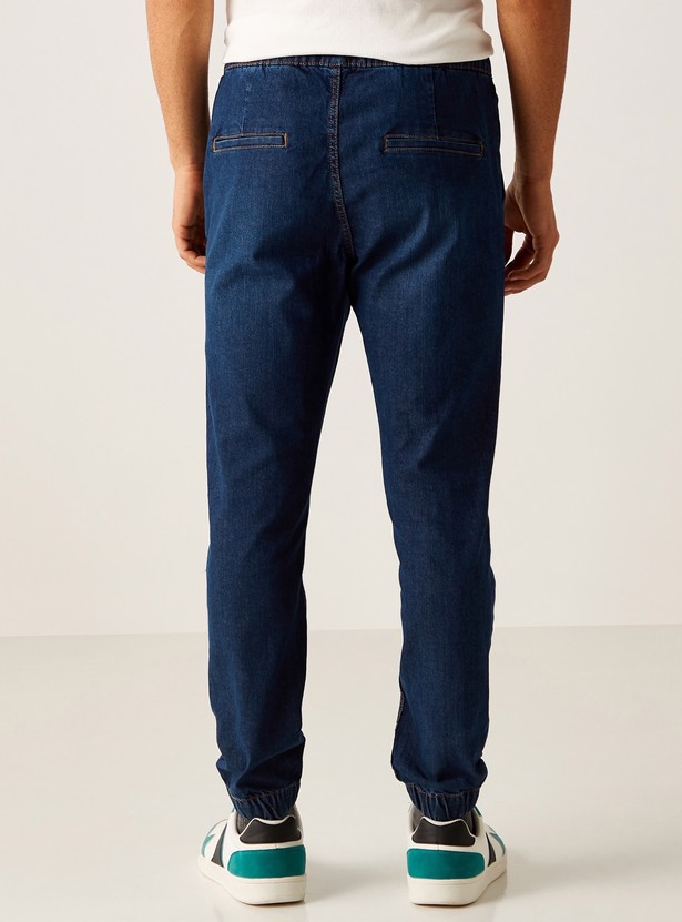 Full Length Denim Joggers with Cuffed Hem and Pocket Detail