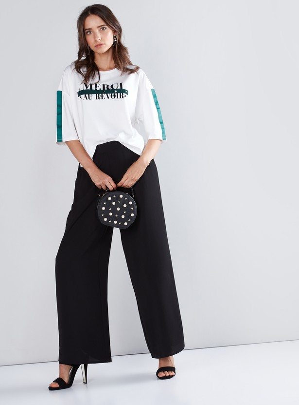 Graphic Slogan Printed T-Shirt with Tape Detail Drop Shoulder Sleeves