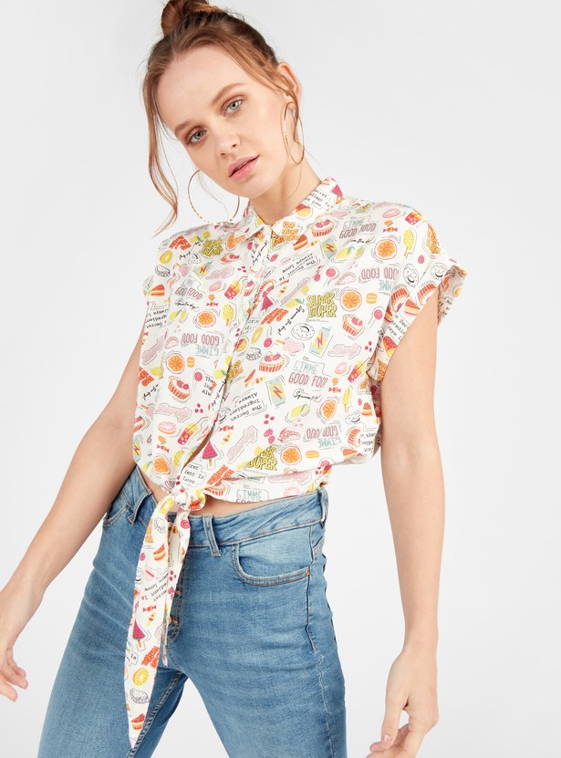 All Over Print Shirt with Front Knot Detail