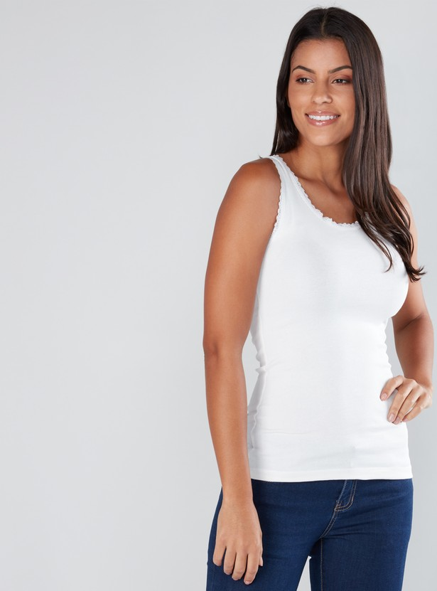 Sleeveless Vest with Lace Borders