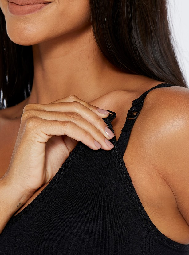 Seamless Maternity Bra with Hook and Eye Closure