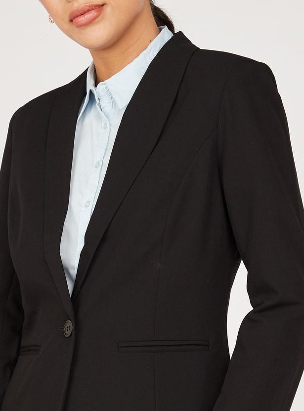 جاكيت بليزر رسمي سادة بأكمام طويلة وياقة مطوية