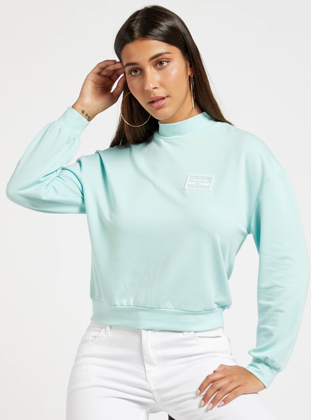 Solid Sweatshirt with High Neck and Long Sleeves