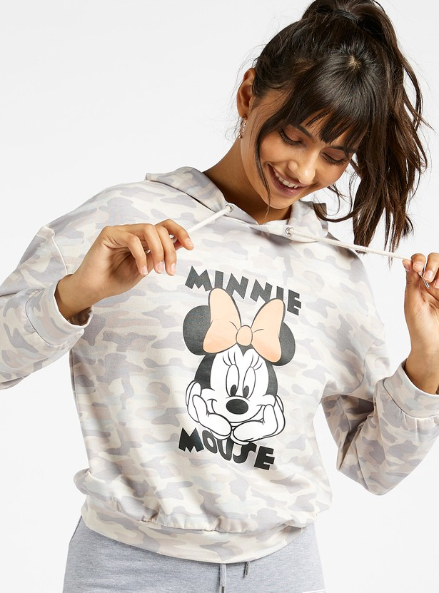 Minnie Mouse Print Sweat Top with Hood and Long Sleeves