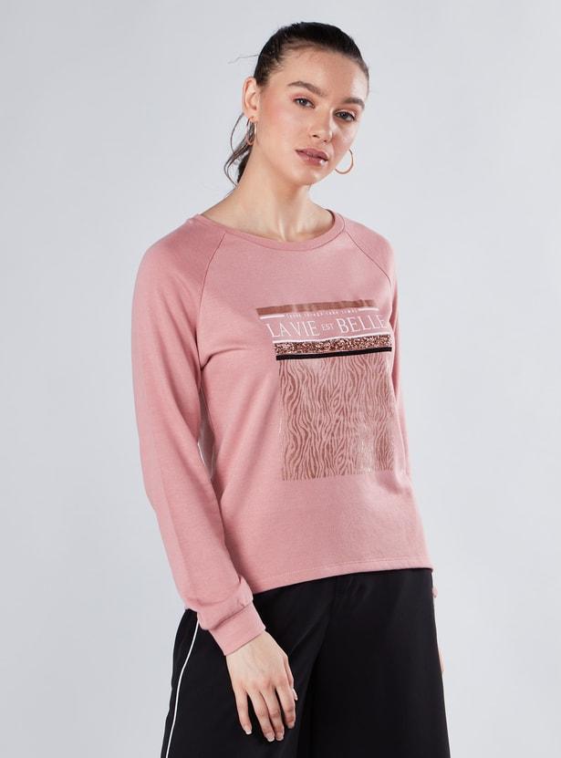 Printed Sweatshirt with Round Neck and Raglan Sleeves